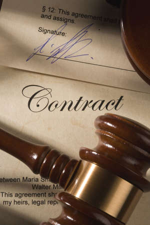 law business: Contract and gavel Stock Photo
