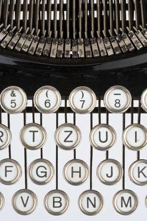 illiteracy: Keyboard of an old, black typewriter Stock Photo