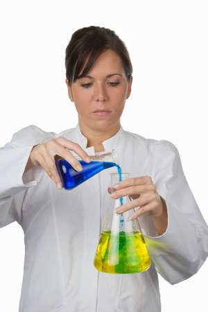 young woman in laboratory isolated on a white background photo