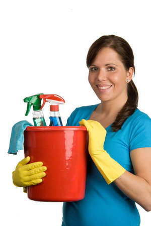 cleanser: cleaning woman with cleanser Stock Photo