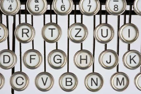 illiterate: Keyboard of an old, black typewriter Stock Photo