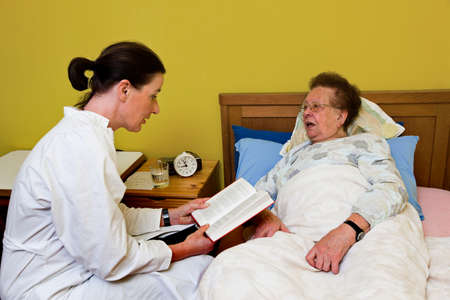 Sick senior is visited by daughter Stock Photo - 4318888