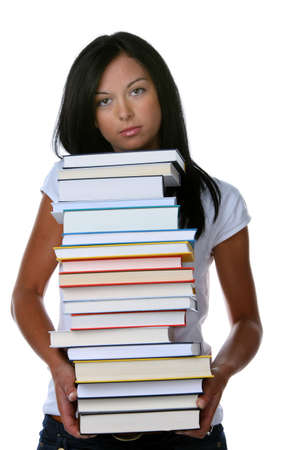stress testing: Young woman with a stack books