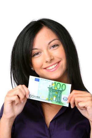 billets euro: Les adolescents avec une facture de 100 euros