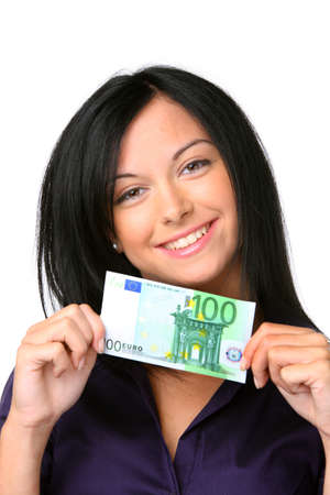 banknotes: Teenagers with a 100 euro bill Stock Photo