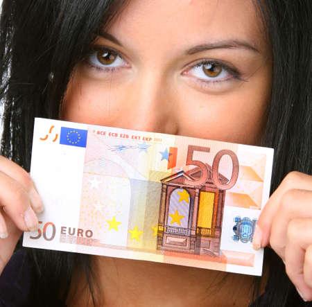 billets euro: Les adolescents de 50 billets en euros Banque d'images