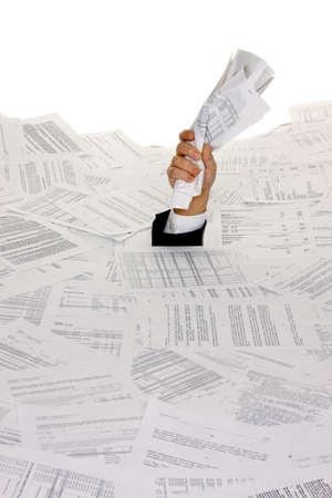 burocracia: Stress by bureaucracy and paper filing Banco de Imagens