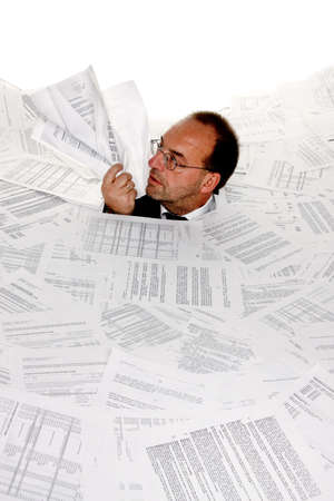 filing document: Stress by bureaucracy and paper filing Stock Photo