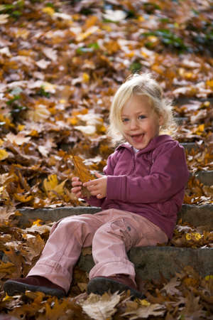 Child with leaves of a tree in autumn Stock Photo - 4357258