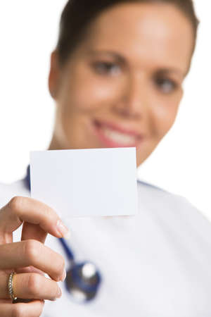 the elderly caregivers: doctor with a blank white business card