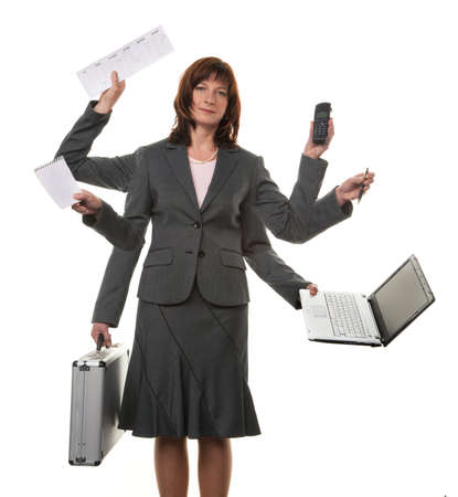 A secretary with many hands, and notebook in stress Stock Photo - 4413064