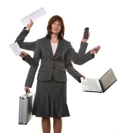 burnout: Eine Sekret�rin mit vielen H�nden, in der Stress-und Notebook -