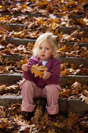 Child with leaves of a tree in autumn Stock Photo - 4413080