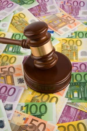 euromoney: European money and gavel Stock Photo