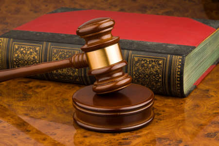 proceedings: Wooden gavel - symbol for jurisdiction Stock Photo