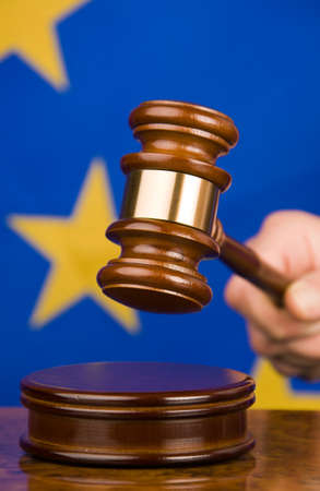 acquittal: Gavel and european union flag