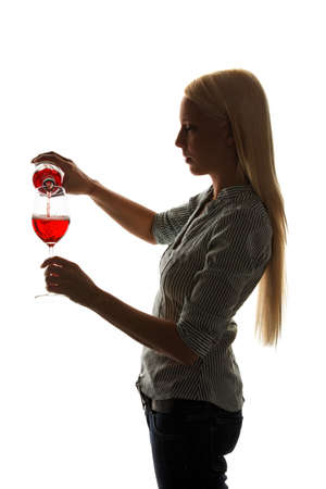 Young Woman with a glass of red wine for wine tasting photo