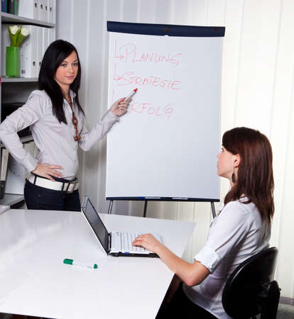 Young women in a business coaching model explains success Stock Photo - 4476644