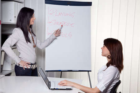 Young women in a business coaching model explains success photo