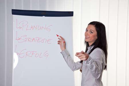 Junge Frauen in einem Business-Coaching-Modell erklärt den Erfolg