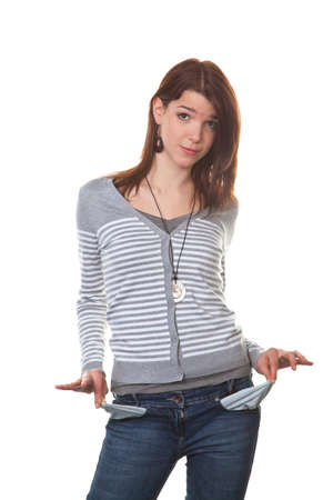 trouser: Young teenage girl shows the empty trouser pockets