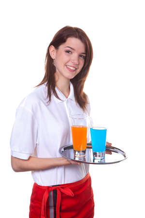 apprenticeships: Young woman as a waitress serves drinks on a tray