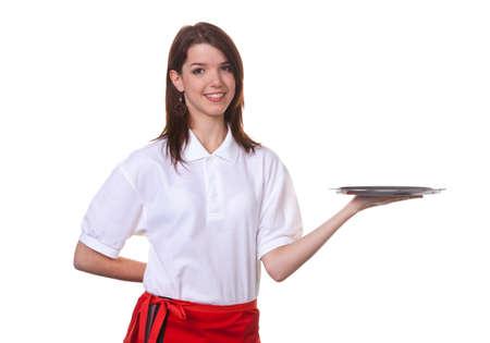 Junge Frau als Kellnerin serviert Getr�nke auf einem Tablett Lizenzfreie Bilder
