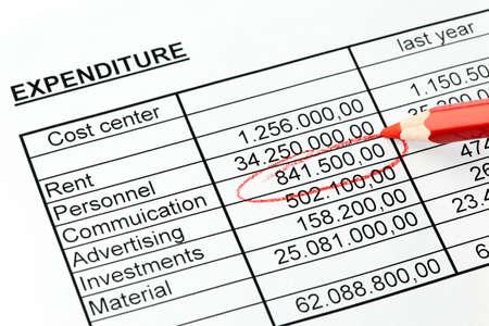 Statistik-Nummern mit einem roten Stift. American. mit einem roten Stift in Englisch