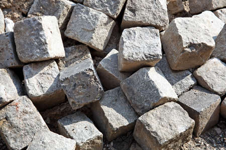 jumble: Close-up of pile of cobblestones. Horizontal.