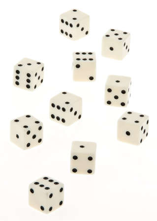 Group of dice on a white background. Vertical. Stock Photo - 5945343