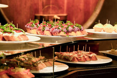 spanish food: Tapas, spanish cuisine, Barcelona, Catalonia, Spain, Europe. Horizontally framed shot.