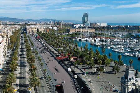 colom: City Street, Passeig de Colom, Barcelona, Catalonia, Spain, Europe, Horizontally framed shot.