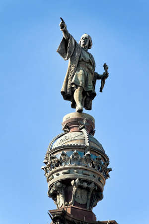 colom: Monument a Colom, Columbus Monument, Barcelona, Catalonia, Spain, Europe. Vertically framed shot.