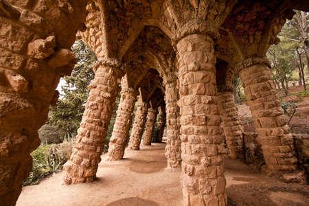 guell: Parc Guell by Gaudi , Mercat de la Boqueria, Sagrada National Dance, Barcelona, Catalonia, Spain, Europe. Horizontally framed shot.