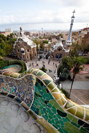 guell: Parc Guell by Gaudi, Barcelona, Catalonia, Spain, Europe. Vertically framed shot.