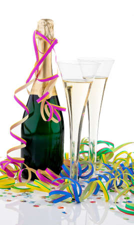 vertically: Champagne bottle and glasses. Vertically framed shot. Stock Photo