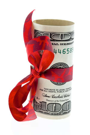 U.S. dollars cash receipts for a gift. Money as a gift. photo