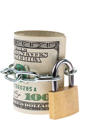 money stack: US dollars bills with lock and chain. Money stack for safety and investment.