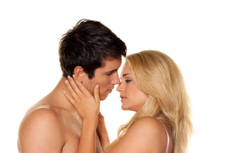 Couple has fun and joy. Love, eroticism and tenderness in everyday life. Stock Photo - 7808390