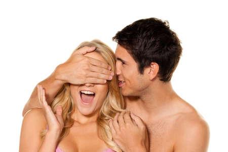 Paar hat Spa� und Freude. Liebe, Erotik und Z�rtlichkeit im Alltag.