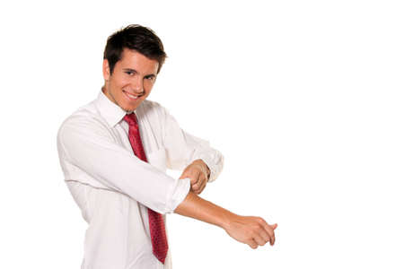 start up: Successful, strong and powerful tackle. Roll up your shirt sleeves. Mens shirt. Stock Photo