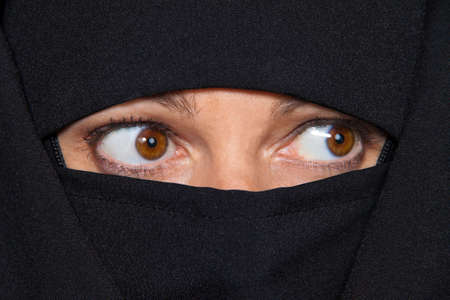 burqa: Example picture Islam. Muslim burqa is with obscured. Stock Photo