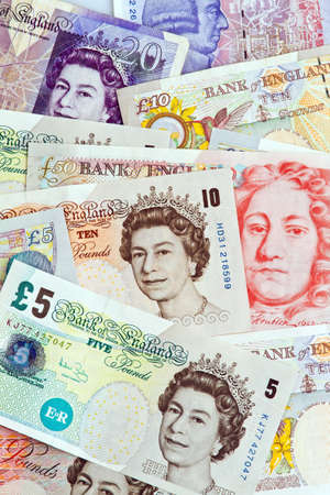 european money: British pound notes. British pounds. Banknotes of the British currency.