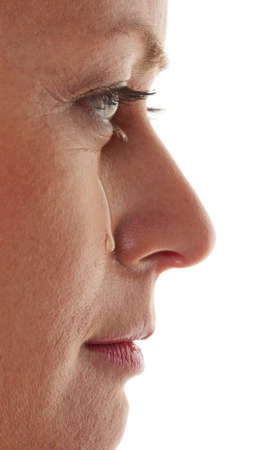 Woman is sad and crying. Tear on her cheek. Stock Photo - 7856561