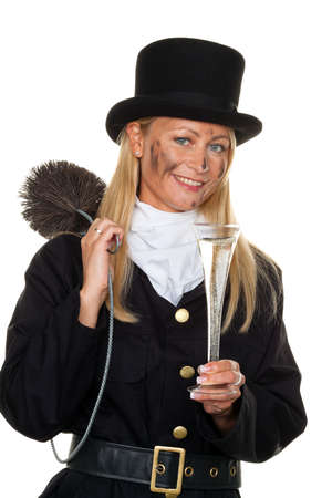 Woman as a chimney sweep. Lucky New Year's Eve and New Year. Stock Photo - 7856614