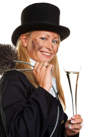 sweeps: Woman as a chimney sweep. Lucky New Years Eve and New Year.