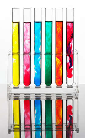 test tubes: Test tubes in an attempt at a chemical laboratory Stock Photo