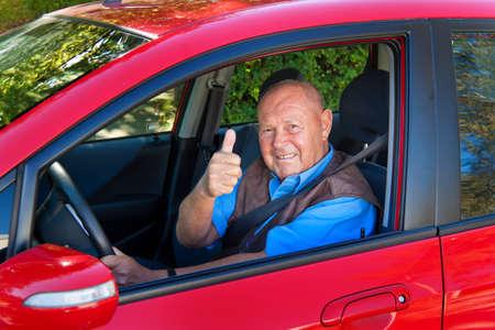 Elderly man wearing a seatbelt when in a car. Stock Photo - 7856867