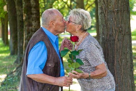 laughing couple: Mature senior couple is in love. Man hands over a rose. Stock Photo