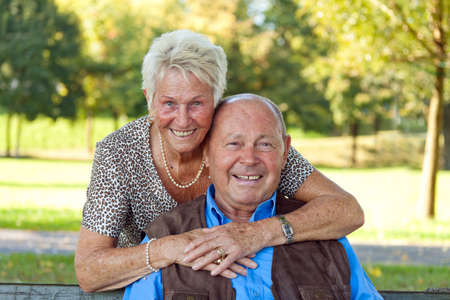 Mature couple in love senior citizens. Portraits of a married couple. Stock Photo - 7856872